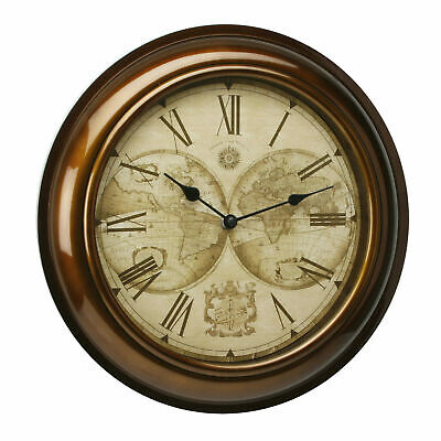 Hometime Wall Clock Gold Case & World Map Dial 30cms NEW 22119