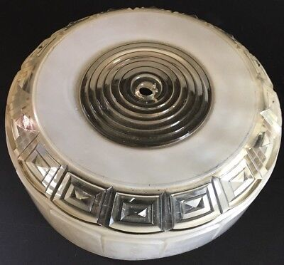 Vintage Ceiling Light Fixture Frosted White Art Deco Style Shade Cover Glass