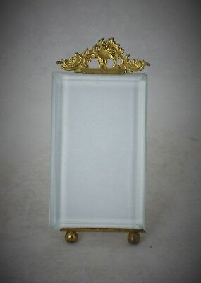 French Antique Bevelled Glass And Ormolu Picture Frame With Rococo Finial C 1880