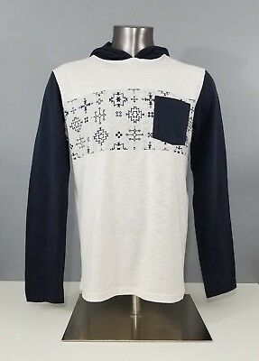 6ebd1915ee0d5 Vans Off The Wall Mens Navy Blue White Long Sleeve Hooded Aztec Top Size  Medium