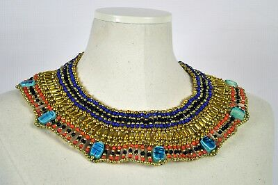 Egyptian Beaded Collar Hand Made 7 Scarab Cleopatra Mummy Collar Necklace
