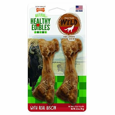 Nylabone Healthy Dog Chew Treat Bone Edibles Wild Flavors Bison FREE 2 Day ship
