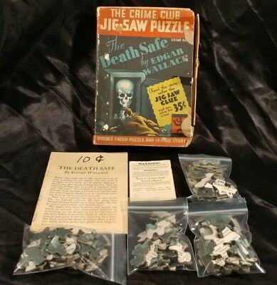 The Crime Club 1933 JIG SAW PUZZLE Death Safe EDGAR WALLACE RARE! Skull Mystery