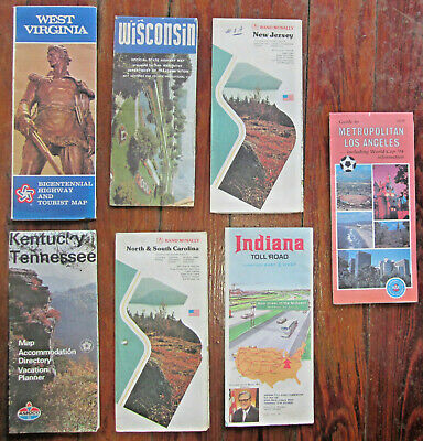 VINTAGE ROAD MAPS Of Southeast States FL AL GA NC SC Lot Of 7 ... on