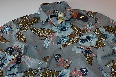 Tommy Bahama Shirt Paulo Chambray Album Grey T315729 LS New Large L