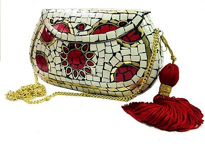eid gift collection White stone bag ethnic clutch indian purse mosaic metal bags
