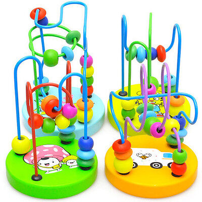 New Children Kids Baby Colorful Wooden Mini Around Beads Educational Game Toy US