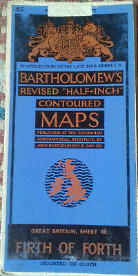 Vintage Bartholomew's Half Inch Map Firth Of Forth on cloth circa1946