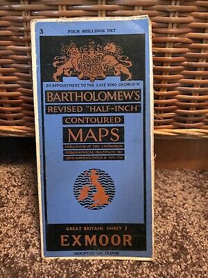 Vintage Bartholomew Half Inch Map of Exmoor - Sheet 35 - Mounted on Cloth