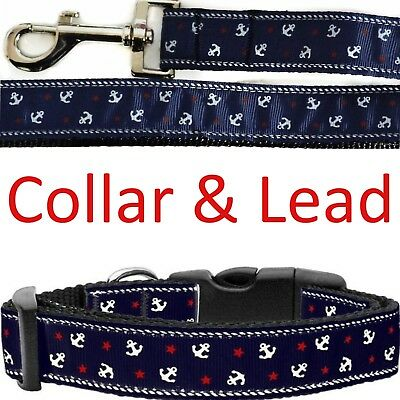 Mirage Pet Anchors Nautical Strong Medium Collar & Leash Lead Set Navy Red White