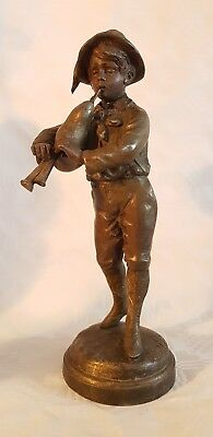 FRENCH SPELTER FIGURE - BOY PLAYING BAGPIPES - signed Kessler