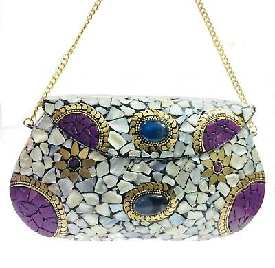 eid gift collection nacre sling bag ethnic clutch indian purse mosaic metal bags