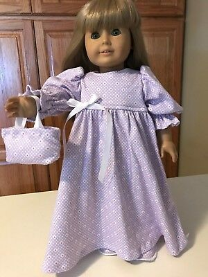 """18"""" Doll Clothes Night Gown Set Gown, Slippers & Tote Bag Lav, White & Hot Pink"""