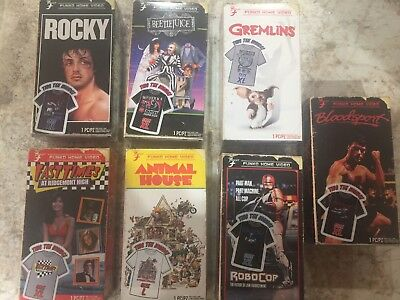Funko VHS XL Shirts Lot Of 7-Rocky, Beetlejuice, Gremlins, Bloodsport, Robocop.
