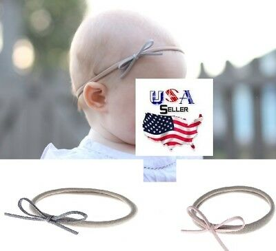 Nylon Baby Headband Newborn Infant Toddler Girls Bow Nylon Headband Suede Bow