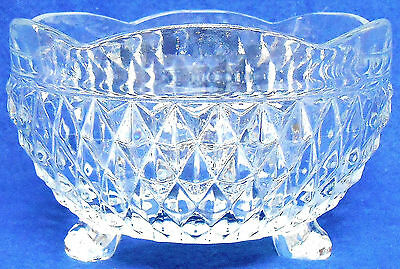 Diamond Cut Pattern, 3 Footed Vintage Candy Dish, Beautiful Clear Glass