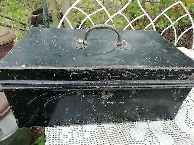 Antique Edwardian Metal Black Deed Box With Brass Handle 31cm Long Circa 1910