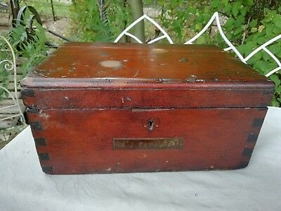 Victorian Pitch Pine Writing Work Sewing Box Brass Plaque A J Farmer C1870