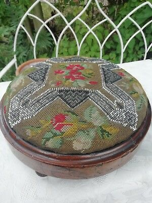 Victorian Needlepoint & Bead Work Round Foot Stool Original Condition Circa 1870