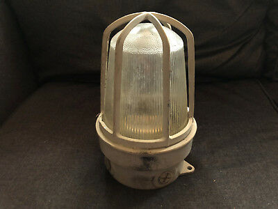 Vintage EXPLOSION PROOF Industrial Cage Light w/ Matching Glass Globe Fixture