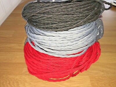 £2.45 A Meter Silk COVERED 3 CORE LIGHT FLEX WIRE BRAIDED TWISTED LAMP CORD