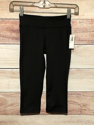 Old Navy Active Girls Black Leggings Size S (6-7) Go Dry Crop Mid Rise NWT LBB76