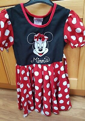 Disney Girl's Red & White Spotted Minnie Mouse Dress  size S Age 4-6
