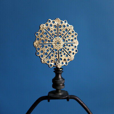 2 Perforated Gold Brass Lamp Finial Ornate Hollywood Regency Morrocan India Chic