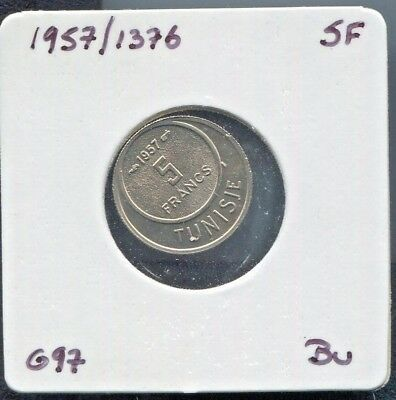 Tunisia - Beautiful Copper-Nickel 5 Francs, Ah 1376 (1957)