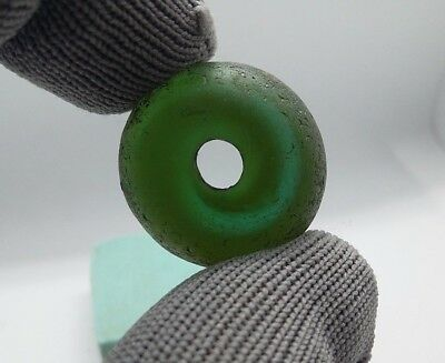 Rare Ancient Viking BIG Green Glass Decoration Bead ca 7 - 9 century AD  #391