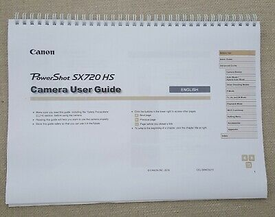 Canon Powershot SX720 FULL USER MANUAL GUIDE COLOUR PRINTED 185 PAGES A5