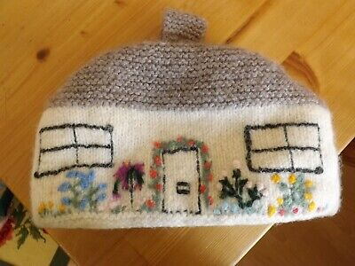 Vintage Handknitted Wool Teacosy shaped like an English  Cottage Fully lined
