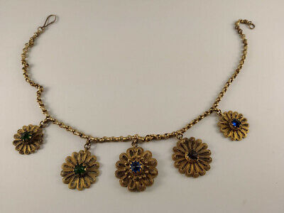 antique ottoman greece silver gilt chest ornament necklace