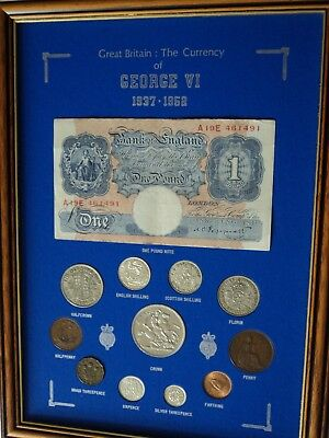 The Currency of King George VI Framed Display Coin Banknote Gift Set Collection