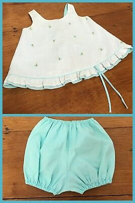 1960s Sun Suit Jumper TOP & BLOOMERS Aqua Sleeveless YARDBRITCHES 12 -  24 month