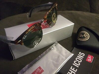 8a9c309ebea Authentic Ray Ban Clubmaster RB 3016 1157 Spotted Black Havana Sunglasses  51mm
