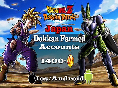 [SHIPPED INSTANTLY] 1400+Stones  Dokkan Battle JP(IOS/Android)  Farmed Accounts