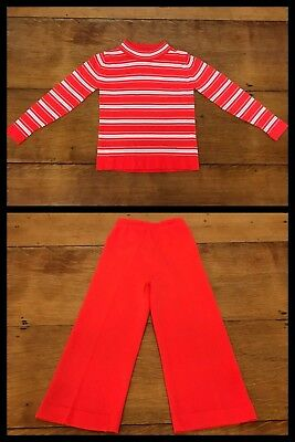 1960s Top Pants Hippy Red MOD Pullover Stretch DANSKIN Fitted Long Sleeve Girl 3