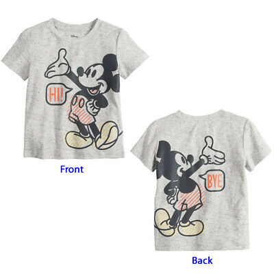 Disney Mickey Mouse Tee T-Shirt Top Short Sleeves Toddler Boy 3T, 4T, 5T Gray