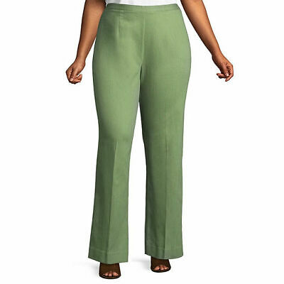 ALFRED DUNNER Women's Plus Light Green Woven Classic Fit Pullon Pants Size 24W