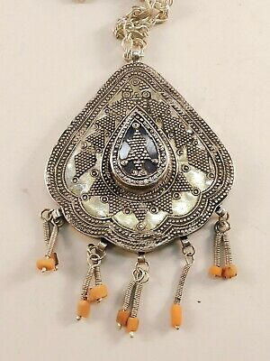 antique kazakh central asia silver partially gilded pendant with hanging corals