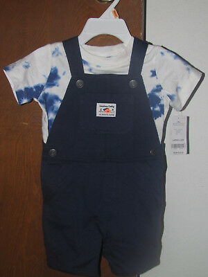 f9c6d518d Boys Carter's NWT 2 pc short sleeved blue/white shortall set size 12 mos