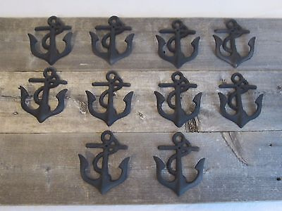 10 Cast Iron Anchor Dark Rustic Coat Hooks Nautical Boat Coat Hat Hook Anchors