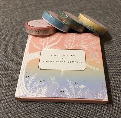 NIB Simply Gilded & Pigeon Paper Collab set of 4 10 mm washi boxed set HTF NEW