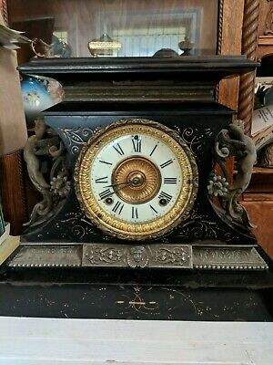 Antique Ansonia Rosalind Black Enamel on Iron Case Mantel Clock - USA New York