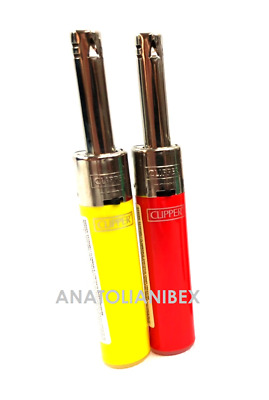 2X CLIPPER TUBE Butane Piezo Ignition Lighters Refillable Pipe BBQ Grill CANDLE
