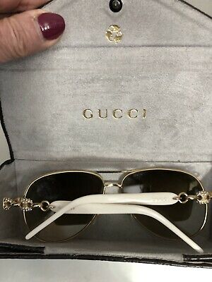 ebdd485f883 Ivory Gucci Aviator sunglasses with Swarovski crystals and case GG 4239 N S