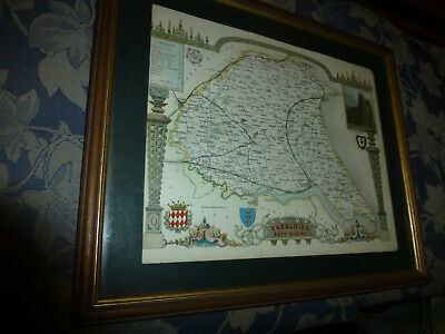 Antique framed decorative map of Yorkshire East Riding over 100 years old