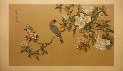 "FL115 parrot pomegranate magnolia – Chinese painting on silk 31""x18½""/26¼""x15½"""