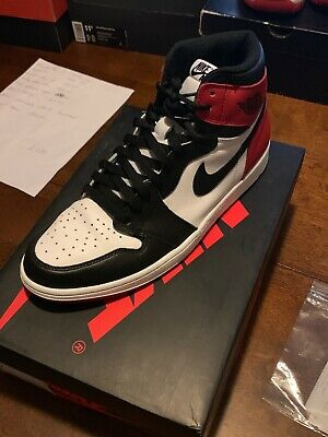cd04f67889e9 Nike Air Jordan 1 Retro I High Og Black Toe Red 2013 Bred 555088 184 Size